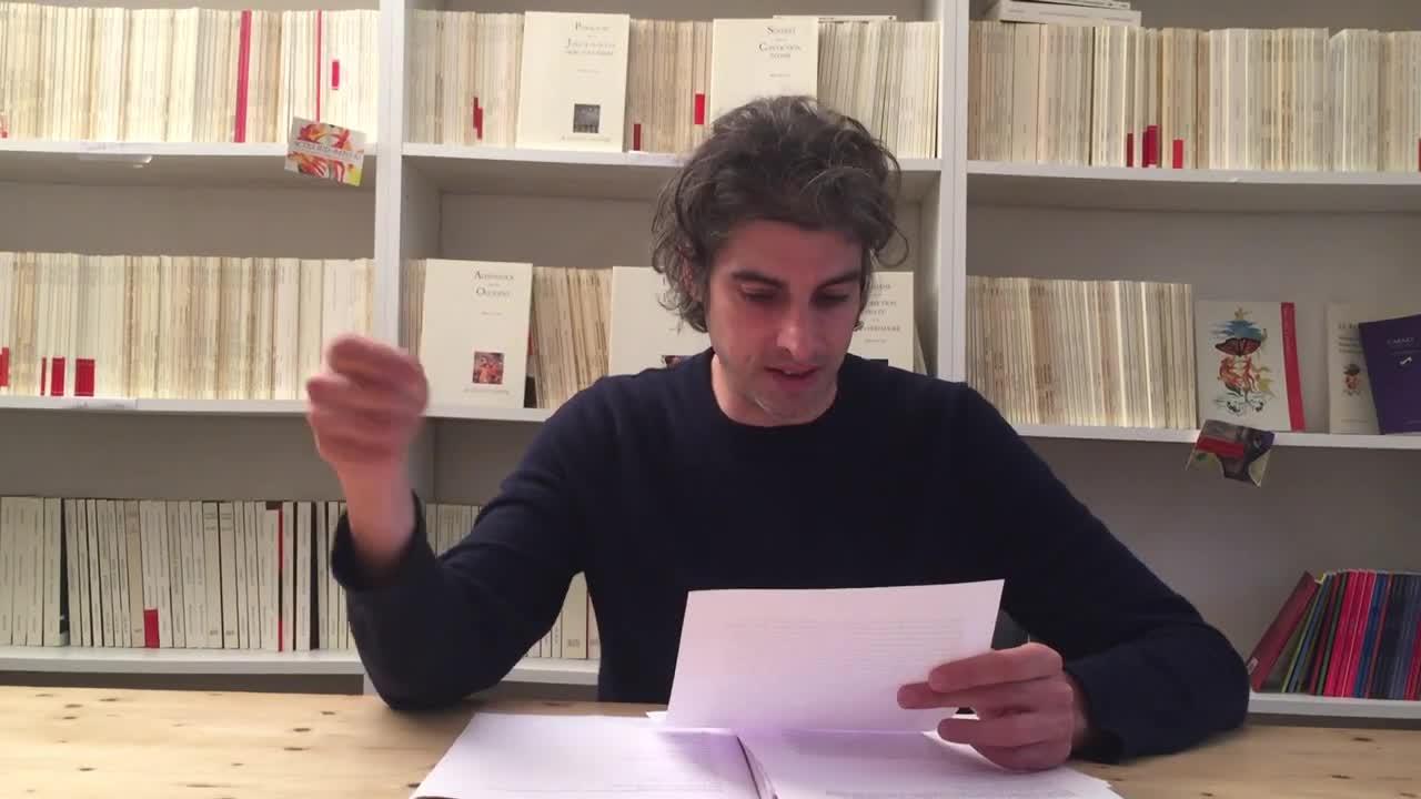 """Vidéo """"Départ volontaire"""", lecture par Micha Lescot"""