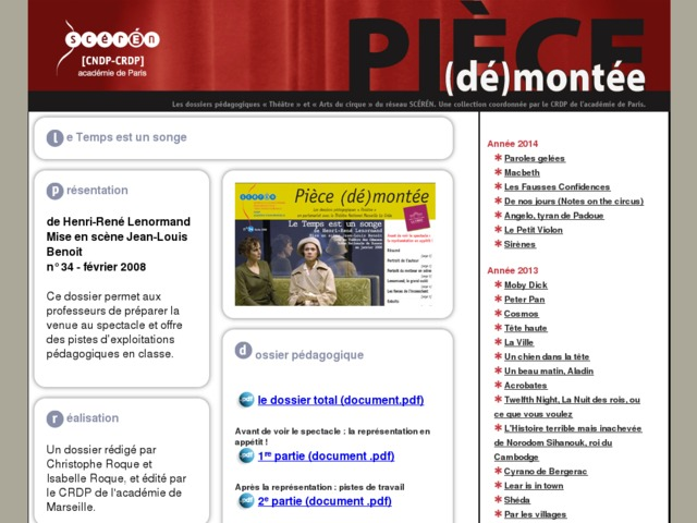 Capture d'écran de la page http://crdp.ac-paris.fr/piece-demontee/piece/index.php?id=le-temps-est-un-songe