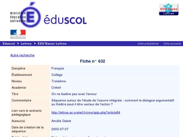 Capture d'écran de la page http://eduscol.education.fr/bd/urtic/lettres/index.php?commande=aper&id=632