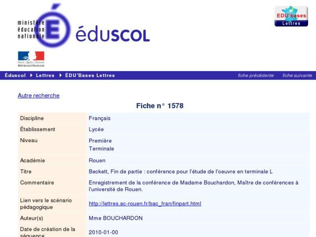 Capture d'écran de la page http://eduscol.education.fr/bd/urtic/lettres/index.php?commande=aper&id=1578