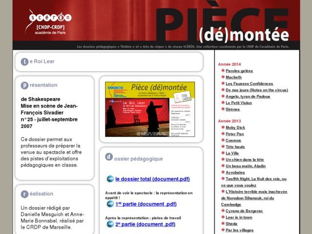 Capture d'écran de la page http://crdp.ac-paris.fr/piece-demontee/piece/index.php?id=le-roi-lear