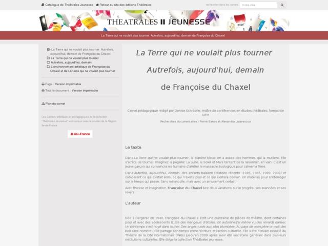 Capture d'écran de la page http://www.editionstheatrales.fr/projet_peda/projet.php?projet_peda=628