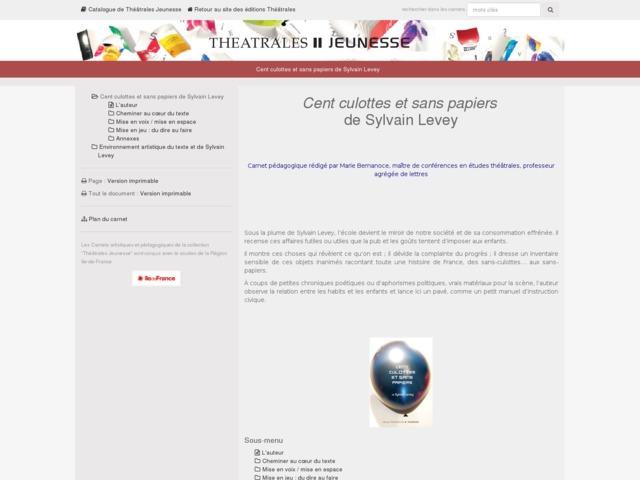 Capture d'écran de la page http://www.editionstheatrales.fr/projet_peda/projet.php?projet_peda=622