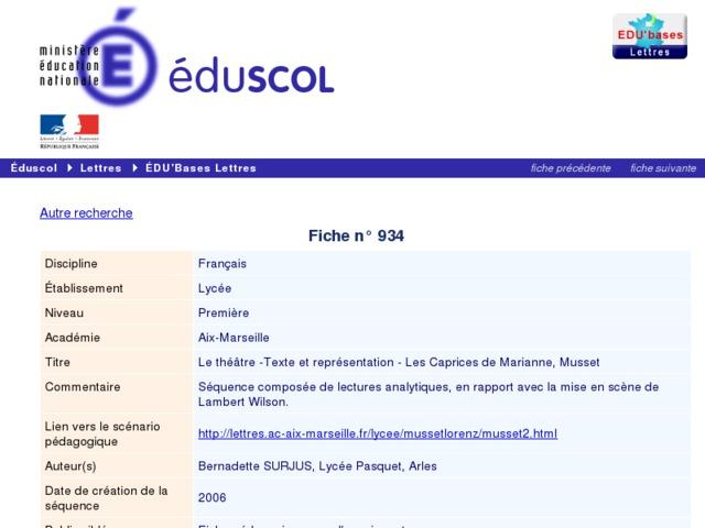 Capture d'écran de la page http://eduscol.education.fr/bd/urtic/lettres/index.php?commande=aper&id=934
