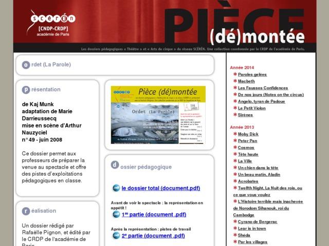 Capture d'écran de la page http://crdp.ac-paris.fr/piece-demontee/piece/index.php?id=ordet