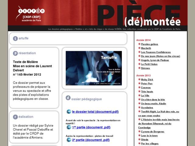 Capture d'écran de la page http://crdp.ac-paris.fr/piece-demontee/piece/index.php?id=tartuffe