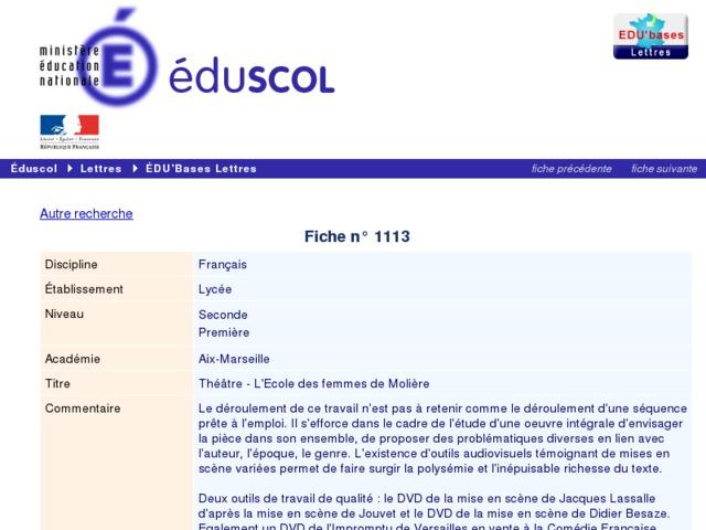 Capture d'écran de la page http://eduscol.education.fr/bd/urtic/lettres/index.php?commande=aper&id=1113