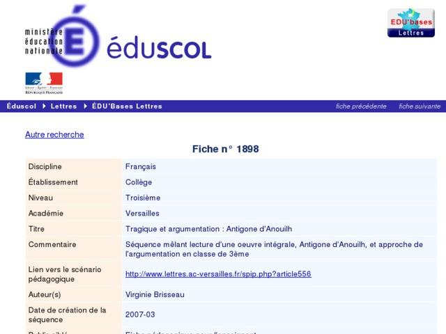 Capture d'écran de la page http://eduscol.education.fr/bd/urtic/lettres/index.php?commande=aper&id=1898