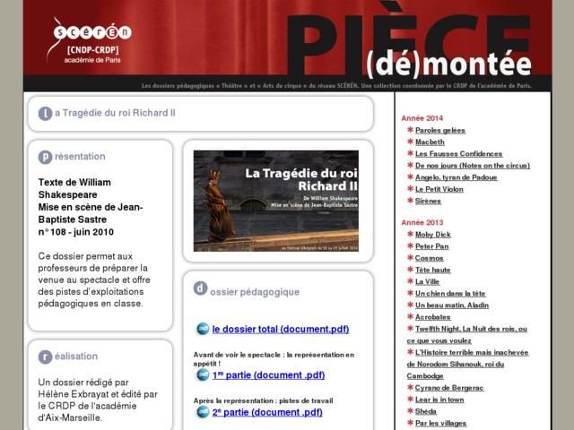 Capture d'écran de la page http://crdp.ac-paris.fr/piece-demontee/piece/index.php?id=la-tragedie-du-roi-Richard-II