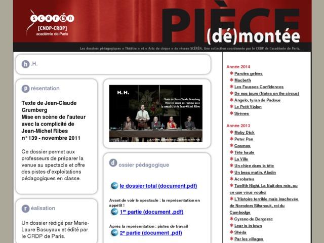 Capture d'écran de la page http://crdp.ac-paris.fr/piece-demontee/piece/index.php?id=HH