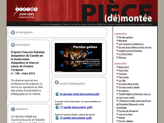 Capture d'écran de la page http://crdp.ac-paris.fr/piece-demontee/piece/index.php?id=paroles-gelees