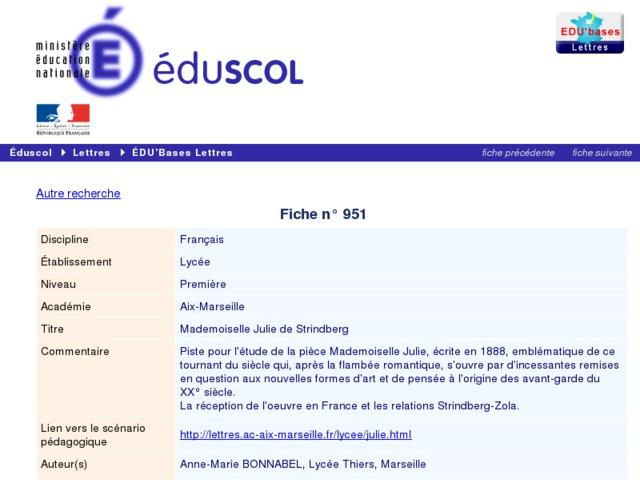 Capture d'écran de la page http://eduscol.education.fr/bd/urtic/lettres/index.php?commande=aper&id=951