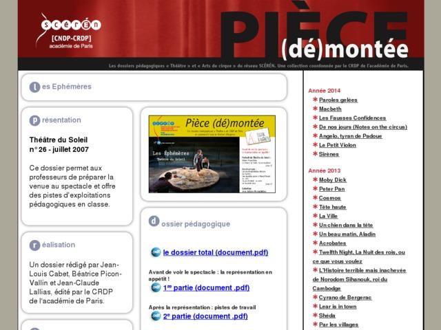 Capture d'écran de la page http://crdp.ac-paris.fr/piece-demontee/piece/index.php?id=les-ephemeres