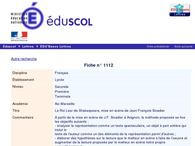 Capture d'écran de la page http://eduscol.education.fr/bd/urtic/lettres/index.php?commande=aper&id=1112