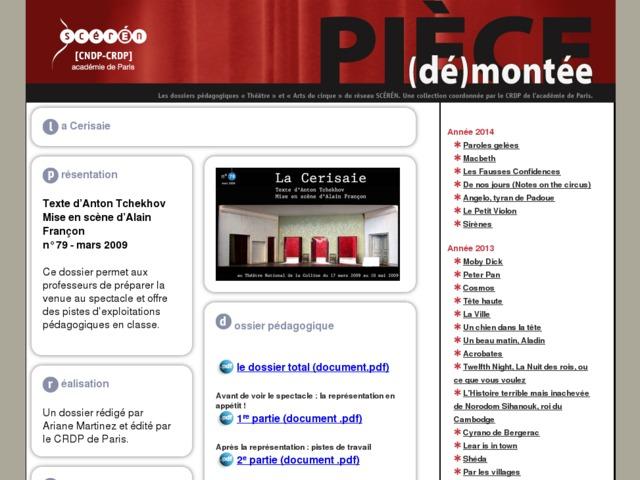 Capture d'écran de la page http://crdp.ac-paris.fr/piece-demontee/piece/index.php?id=la-cerisaie