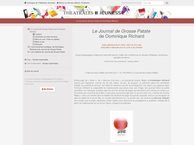 Capture d'écran de la page http://www.editionstheatrales.fr/projet_peda/projet.php?projet_peda=259