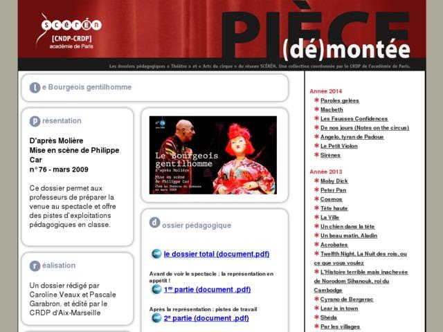 Capture d'écran de la page http://crdp.ac-paris.fr/piece-demontee/piece/index.php?id=le-bourgeois-gentilhomme