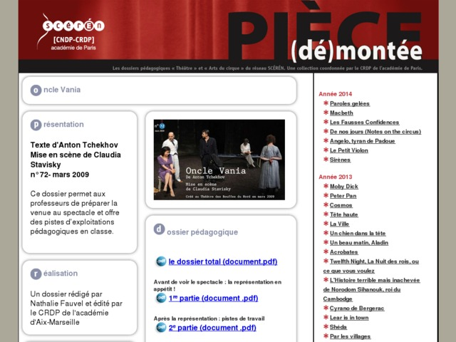 Capture d'écran de la page http://crdp.ac-paris.fr/piece-demontee/piece/index.php?id=oncle-vania