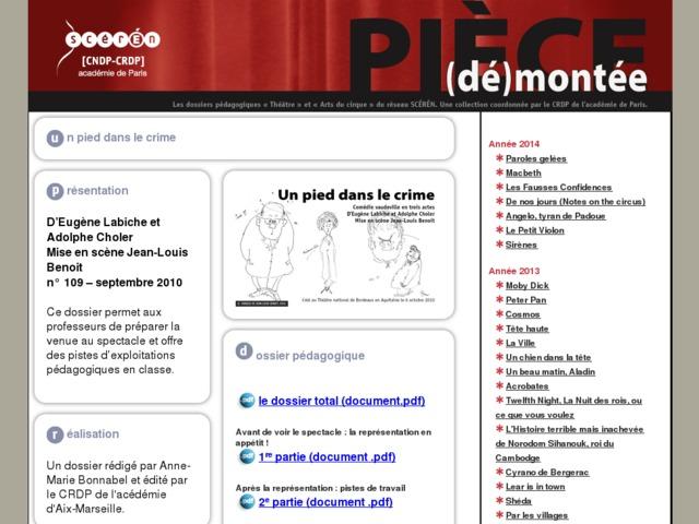 Capture d'écran de la page http://crdp.ac-paris.fr/piece-demontee/piece/index.php?id=un-pied-dans-le-crime
