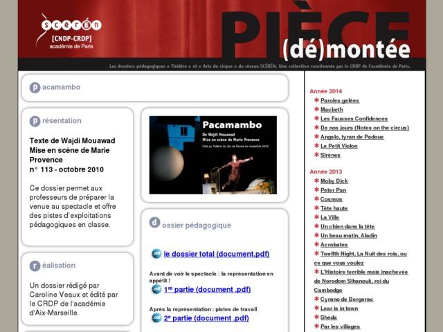 Capture d'écran de la page http://crdp.ac-paris.fr/piece-demontee/piece/index.php?id=pacamambo