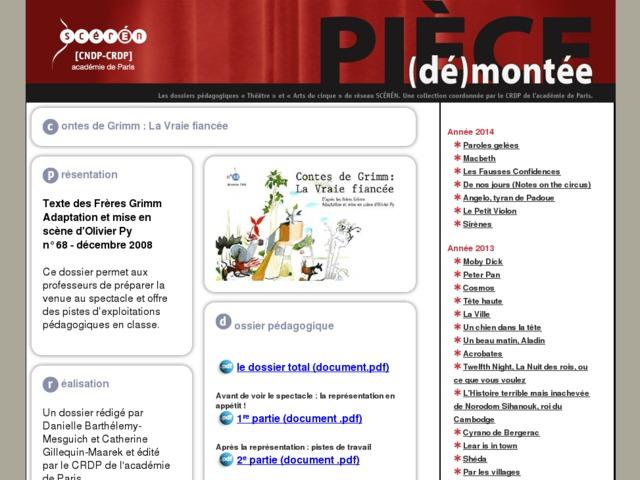 Capture d'écran de la page http://crdp.ac-paris.fr/piece-demontee/piece/index.php?id=la-vraie-fiancee