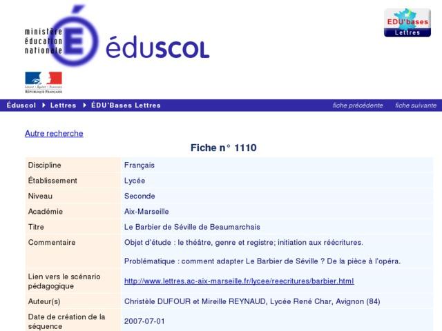 Capture d'écran de la page http://eduscol.education.fr/bd/urtic/lettres/index.php?commande=aper&id=1110