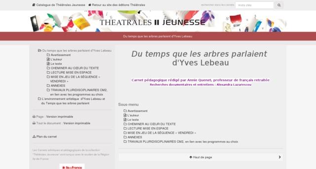 Capture d'écran de la page http://www.editionstheatrales.fr/projet_peda/projet.php?projet_peda=611