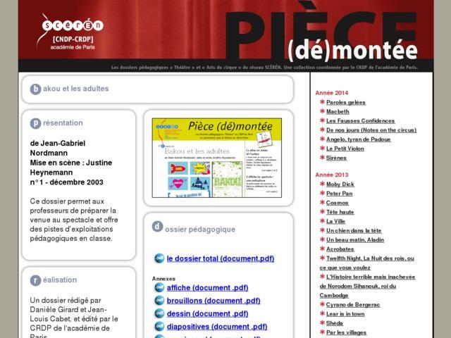 Capture d'écran de la page http://crdp.ac-paris.fr/piece-demontee/piece/index.php?id=bakou-et-les-adultes