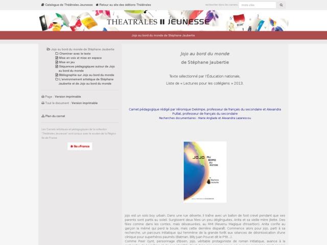 Capture d'écran de la page http://www.editionstheatrales.fr/projet_peda/projet.php?projet_peda=472