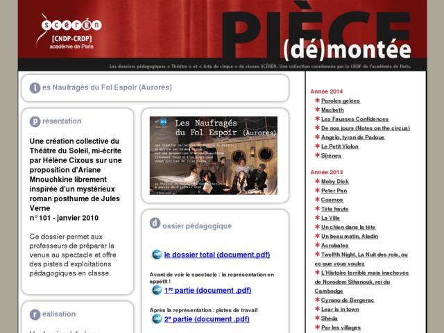 Capture d'écran de la page http://crdp.ac-paris.fr/piece-demontee/piece/index.php?id=les-naufrages-du-fol-espoir