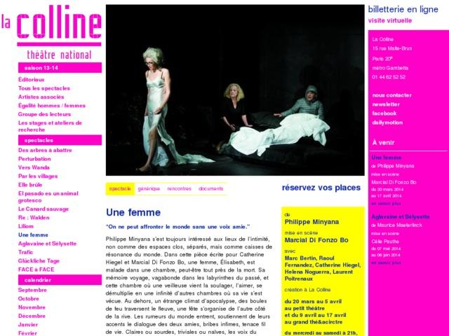 Capture d'écran de la page http://www.colline.fr/fr/spectacle/une-femme