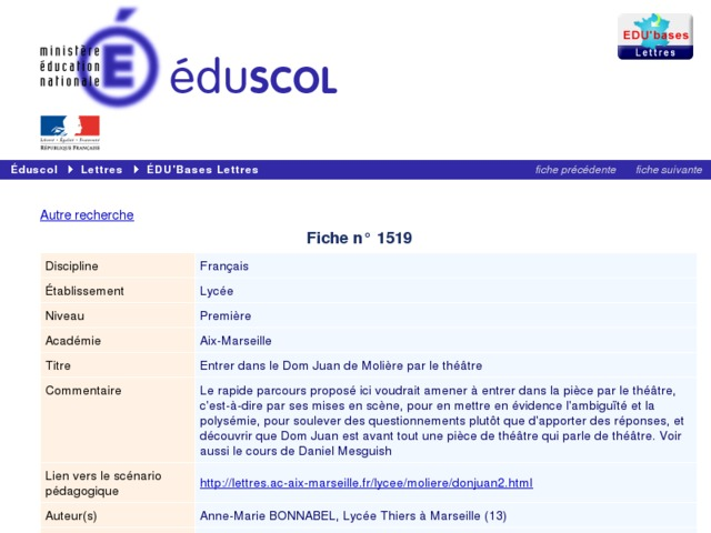 Capture d'écran de la page http://eduscol.education.fr/bd/urtic/lettres/index.php?commande=aper&id=1519