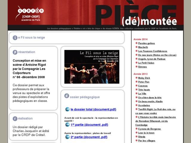 Capture d'écran de la page http://crdp.ac-paris.fr/piece-demontee/piece/index.php?id=le-fil-sous-la-neige