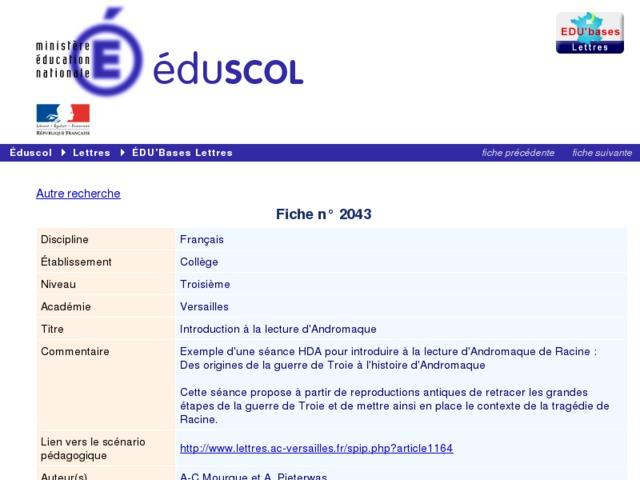Capture d'écran de la page http://eduscol.education.fr/bd/urtic/lettres/index.php?commande=aper&id=2043