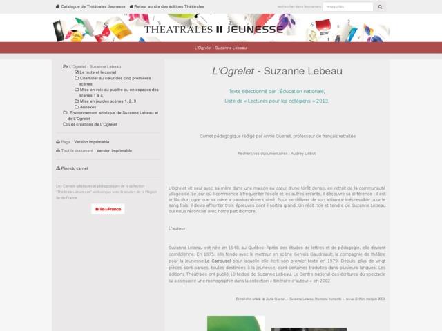Capture d'écran de la page http://www.editionstheatrales.fr/projet_peda/projet.php?projet_peda=312