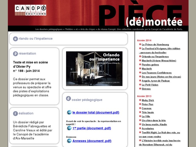 Capture d'écran de la page http://crdp.ac-paris.fr/piece-demontee/piece/index.php?id=orlando