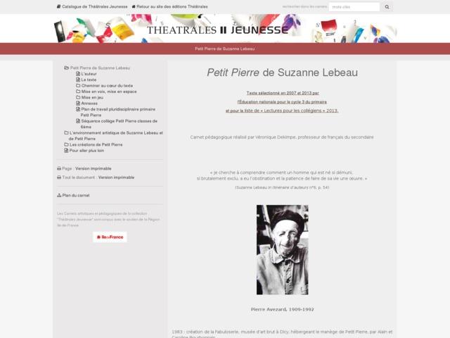 Capture d'écran de la page http://www.editionstheatrales.fr/projet_peda/projet.php?projet_peda=462