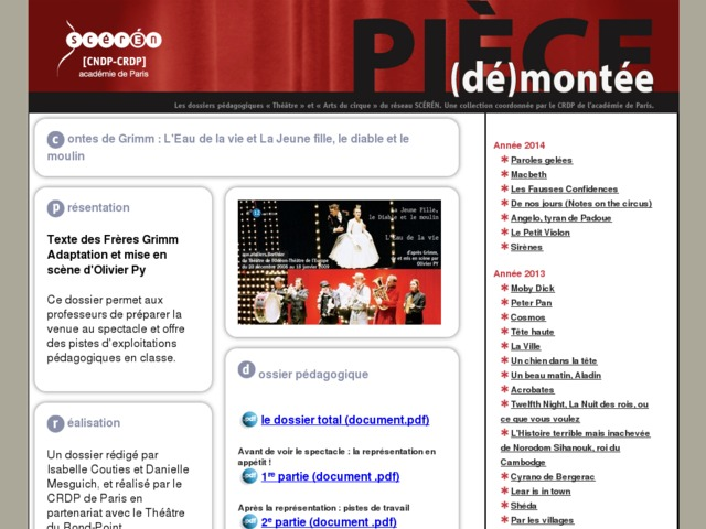 Capture d'écran de la page http://crdp.ac-paris.fr/piece-demontee/piece/index.php?id=l-eau-de-la-vie-la-jeune-fille-le-diable-et-le-moulin