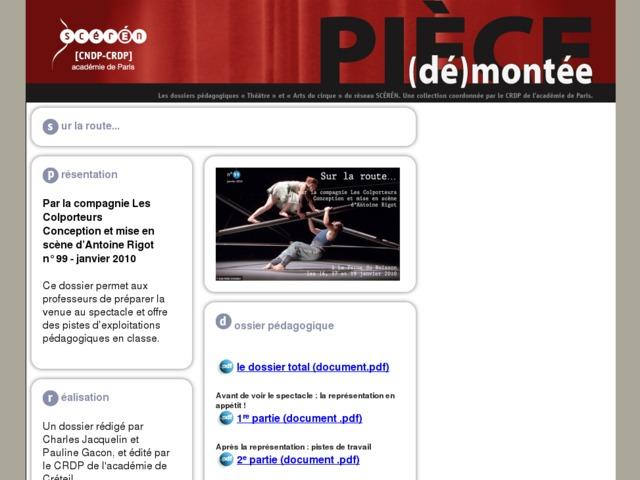 Capture d'écran de la page http://crdp.ac-paris.fr/piece-demontee/piece/index.php?id=sur-la-route