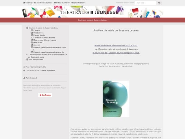 Capture d'écran de la page http://www.editionstheatrales.fr/projet_peda/projet.php?projet_peda=464