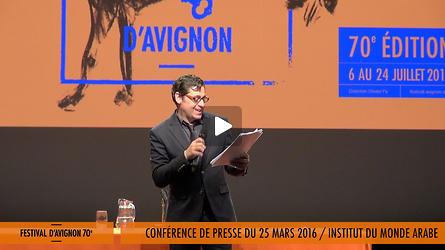 Conférence de presse du 70e Festival d'Avignon, présentation par Olivier Py