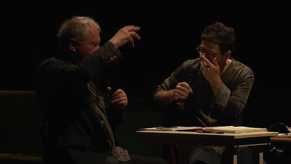 """Image du spectacle Valère Novarina dialogue avec Wajdi Mouawad / """"L'Homme hors de lui"""""""