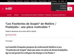 """""""Les Fourberies de Scapin"""" de Molière / Podalydès: une pièce maltraitée ?"""