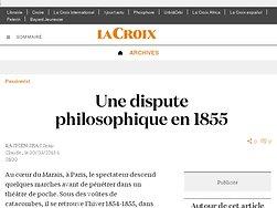 Une dispute philosophique en 1855