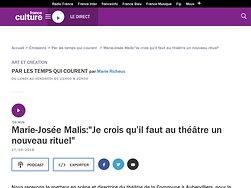 """Marie-Josée Malis : """"Je crois qu'il faut au théâtre un nouveau rituel"""""""