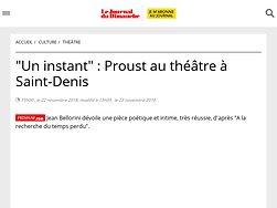 """""""Un instant"""" : Proust au théâtre à Saint-Denis"""