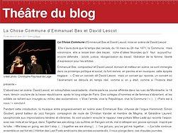 La Chose Commune d'Emmanuel Bex et David Lescot