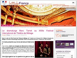 Le dramaturge Marc Tamet au XXXe Festival International de Théâtre de Málaga
