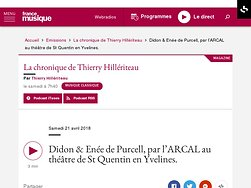 Didon & Enée de Purcell, La chronique