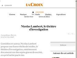 Nicolas Lambert, le théâtre d'€™investigation